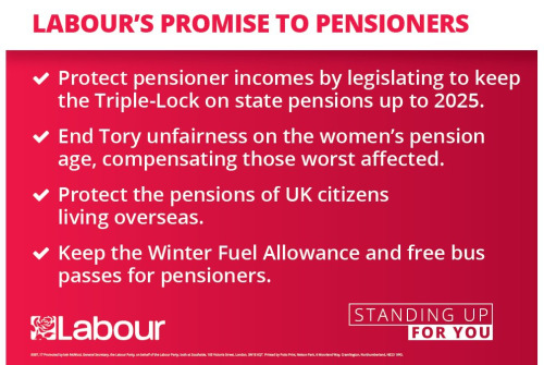 Labour's Pensioners' Pledge Card 2017